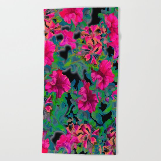 vivid pink petunia on black background Beach Towel