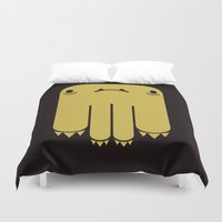 black and gold Duvet Covers featuring GOLD & BLACK by Mon Petit Monsu
