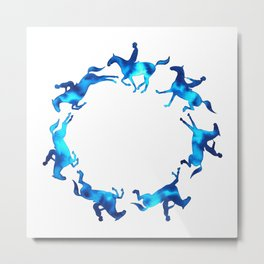 Showjumping Horse Sequence (Blue) Metal Print