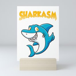 Funny Sharkasm I Love Salad Shark Sarcasm Pun Mini Art Print