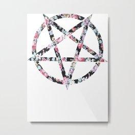 Floral Pentagram Metal Print