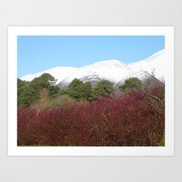 Snow capped Cumbrian mountains Art Print