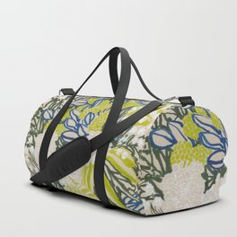 White chrysanthemums -ink floral Duffle Bag