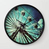 ferris wheel Wall Clocks featuring Ferris Wheel by Angela Bruno