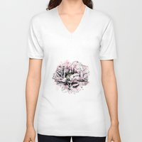 peony V-neck T-shirts featuring Peony  by EllaJohnston Art & Illustration