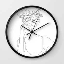 Minimal Line Art Woman with Flowers II Wall Clock