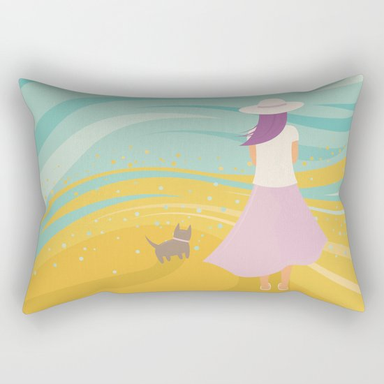 Listen to the Ocean (Girl and Cat Vector Graphic Illustration) Rectangular Pillow