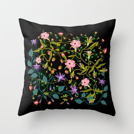 Wild Flowers on Black Ground Throw Pillow