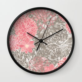 Floral Pattern Dahlias, Pink, Gray, White Wall Clock