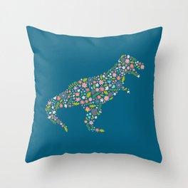 Floral T-Rex on Blu Throw Pillow