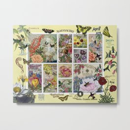Enchanted Garden Postal Collage Metal Print