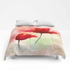 Red Poppy watercolor painting Comforters