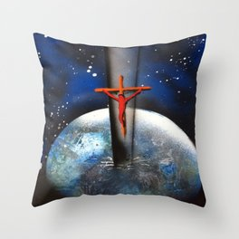 Saving the World Cross Spray Paint Throw Pillow