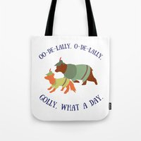 robin hood Tote Bags featuring Robin Hood and Little John by Ellie Bockert Augsburger