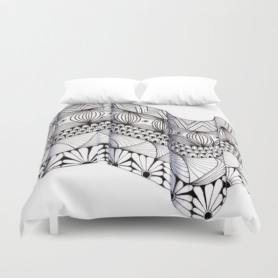 Zentangle Architectural Molding Duvet Cover