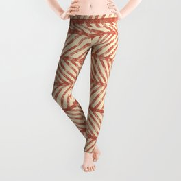 Herringbone Terracotta and Cream Leggings
