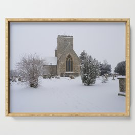 Snowy Churchyard Serving Tray