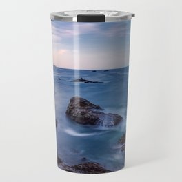 Rocky Shore - Waves Crash on Rocks Along Coast at Big Sur Travel Mug