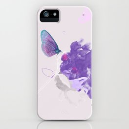 Purple butterfly & flower watercolor illustration painting iPhone Case