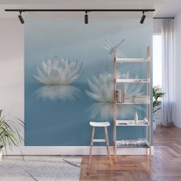 Blue Lotus and Dragonfly Wall Mural
