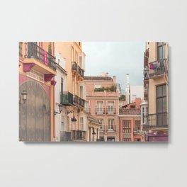Mediterranean City - Houses and Street Metal Print