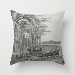 Stagecoach, circa late 1700s Throw Pillow