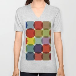 Retro Colored Dots Unisex V-Neck