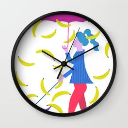 Raining Bananas Wall Clock