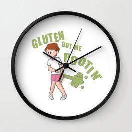 Gluten Allergy Gluten Got Me Pootin Wall Clock