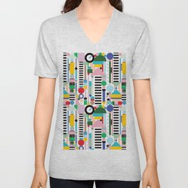 Memphis Milano Postmodern City Towers Unisex V-Neck