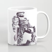 master chief Mugs featuring Master Chief 117 by DeMoose_Art