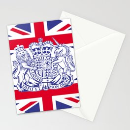 UK coat of arms and flag Stationery Cards