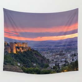 The alhambra and Granada city at sunset Wall Tapestry