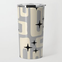 Retro Mid Century Modern Abstract Pattern 576 Gray Black Travel Mug