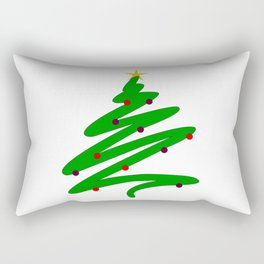 Minimalist Green Christmas Tree Doodle with Ornaments and Star Rectangular Pillow