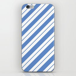 White Bands on Blue iPhone Skin