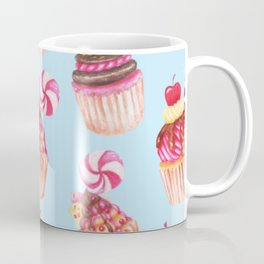 Cupcakes Pattern Cute Sweet Tooth Pink Colorful Blue Background Coffee Mug