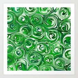 Emerald Green, Green Apple, and White Paint Swirls Art Print