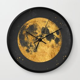 Gold Moon Wall Clock
