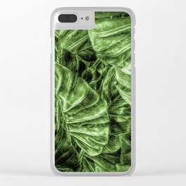Painted Green Monstera palm leaves by Brian Vegas Clear iPhone Case
