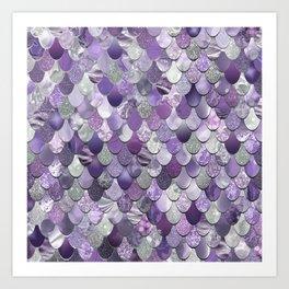 Mermaid Purple and Silver Art Print