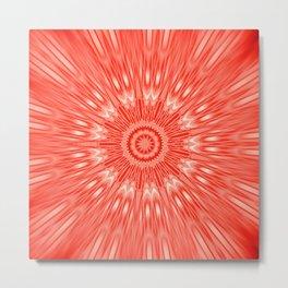 red Mandala Explosion Metal Print
