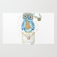 hedwig Area & Throw Rugs featuring Harry Potter - Hedwig Owl and Golden Snitch by Cortney Palmer Art