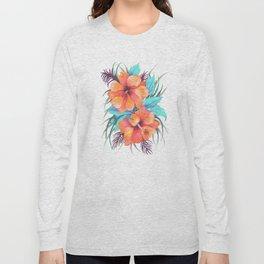 TROPICAL FLOWER {orange hibiscus}  Long Sleeve T-shirt
