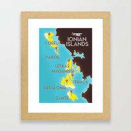ionian Islands map Framed Art Print