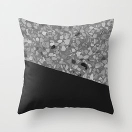 Terrazzo Texture Grey Black #7 Throw Pillow