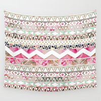 preppy Wall Tapestries featuring Aztec Spring Time! | Girly Pink White Floral Abstract Aztec Pattern by Girly Trend