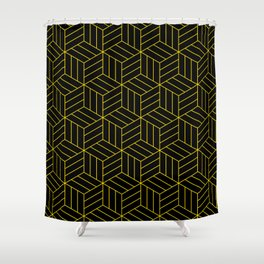 Gold and Black geometric Shower Curtain