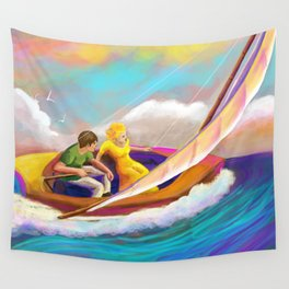 Sailing Boat with couple Wall Tapestry