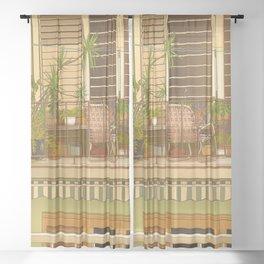 Balcony View in Cuba Sheer Curtain